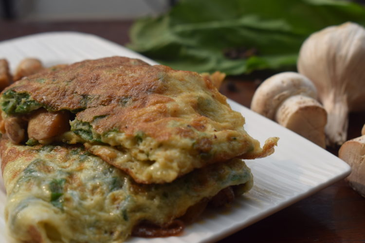 mushroom and spinach omelette