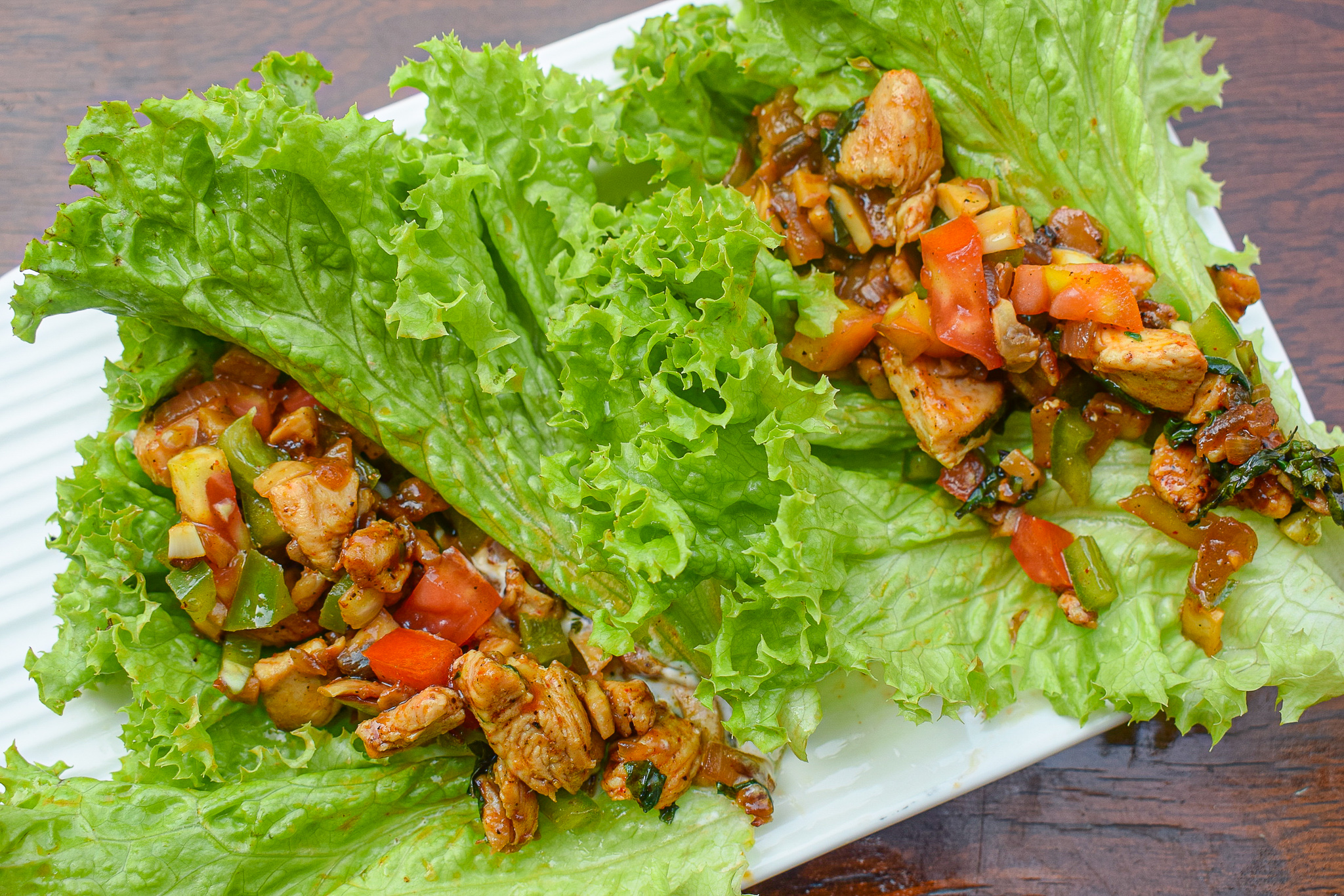 chicken and mushroom lettuce wraps