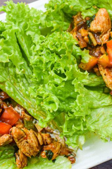 chicken and mushroom lettuce wraps