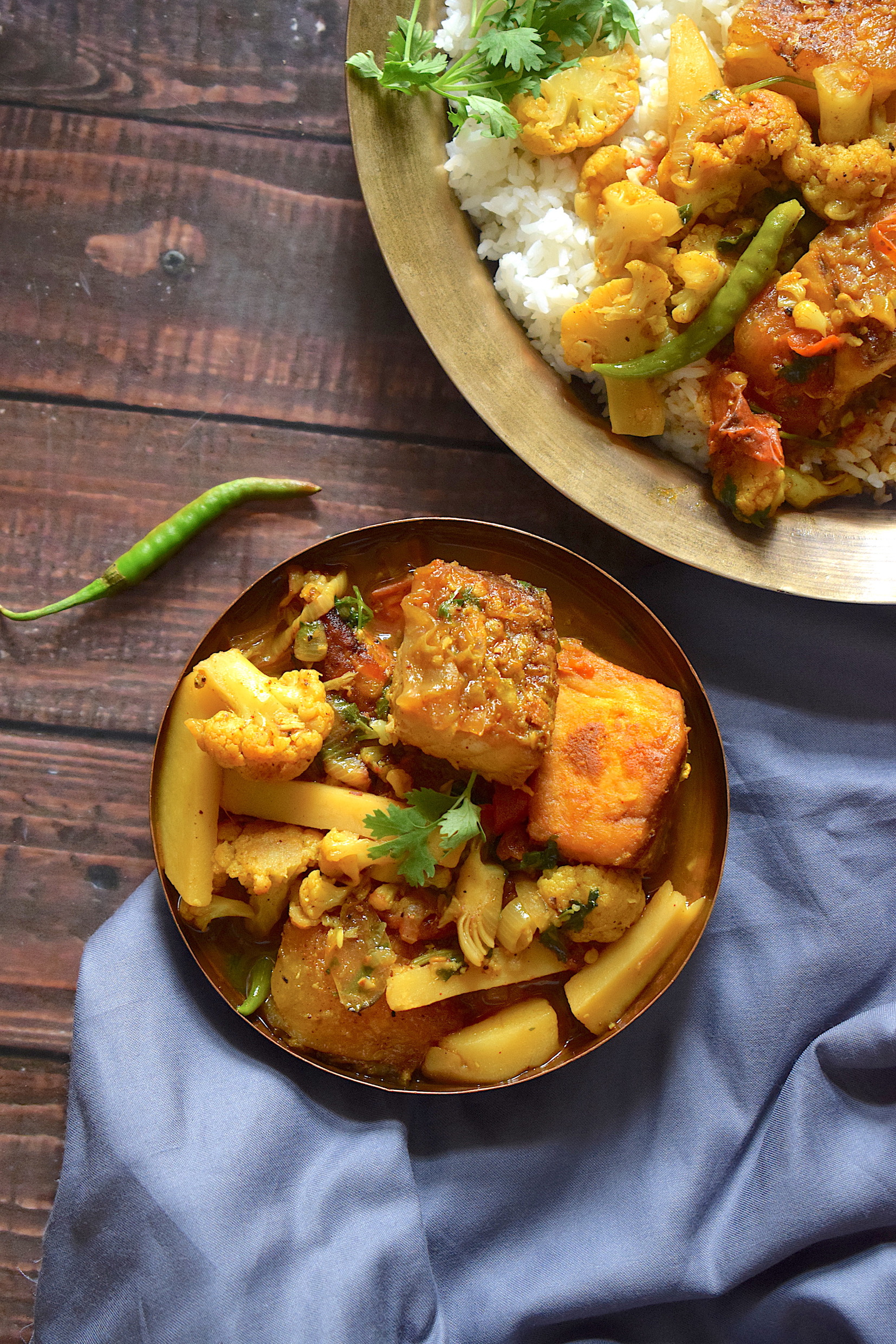 assamese fish curry with cauliflower and potatoes