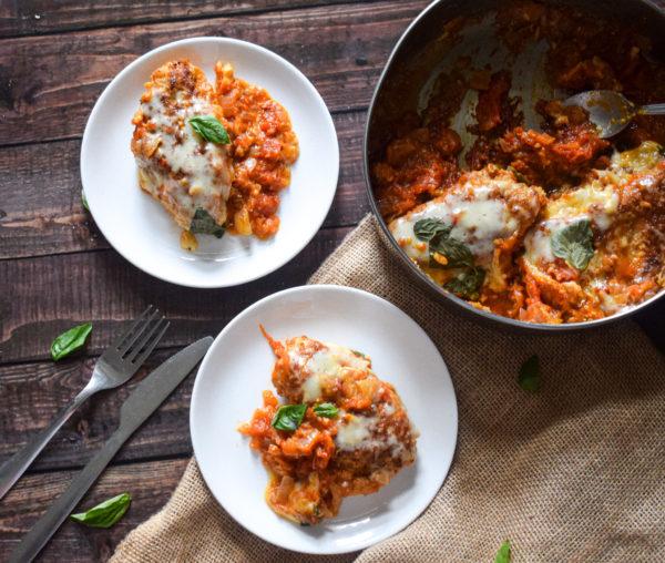 cheesy tomato and basil chicken