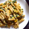penne with spinach and corn