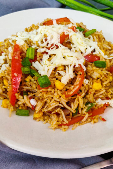 cheesy corn pepper fried rice