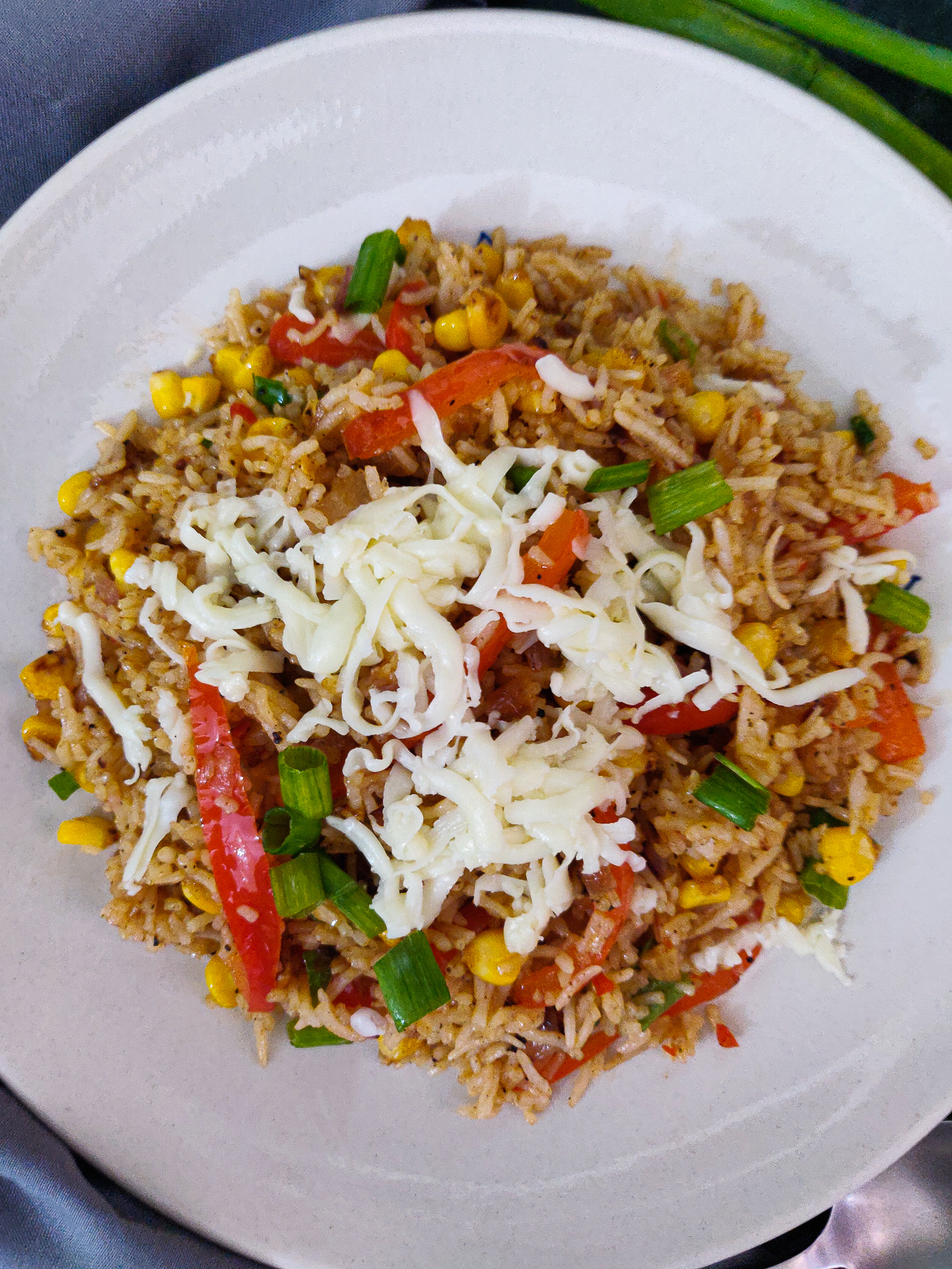 cheesy corn pepper fried rice