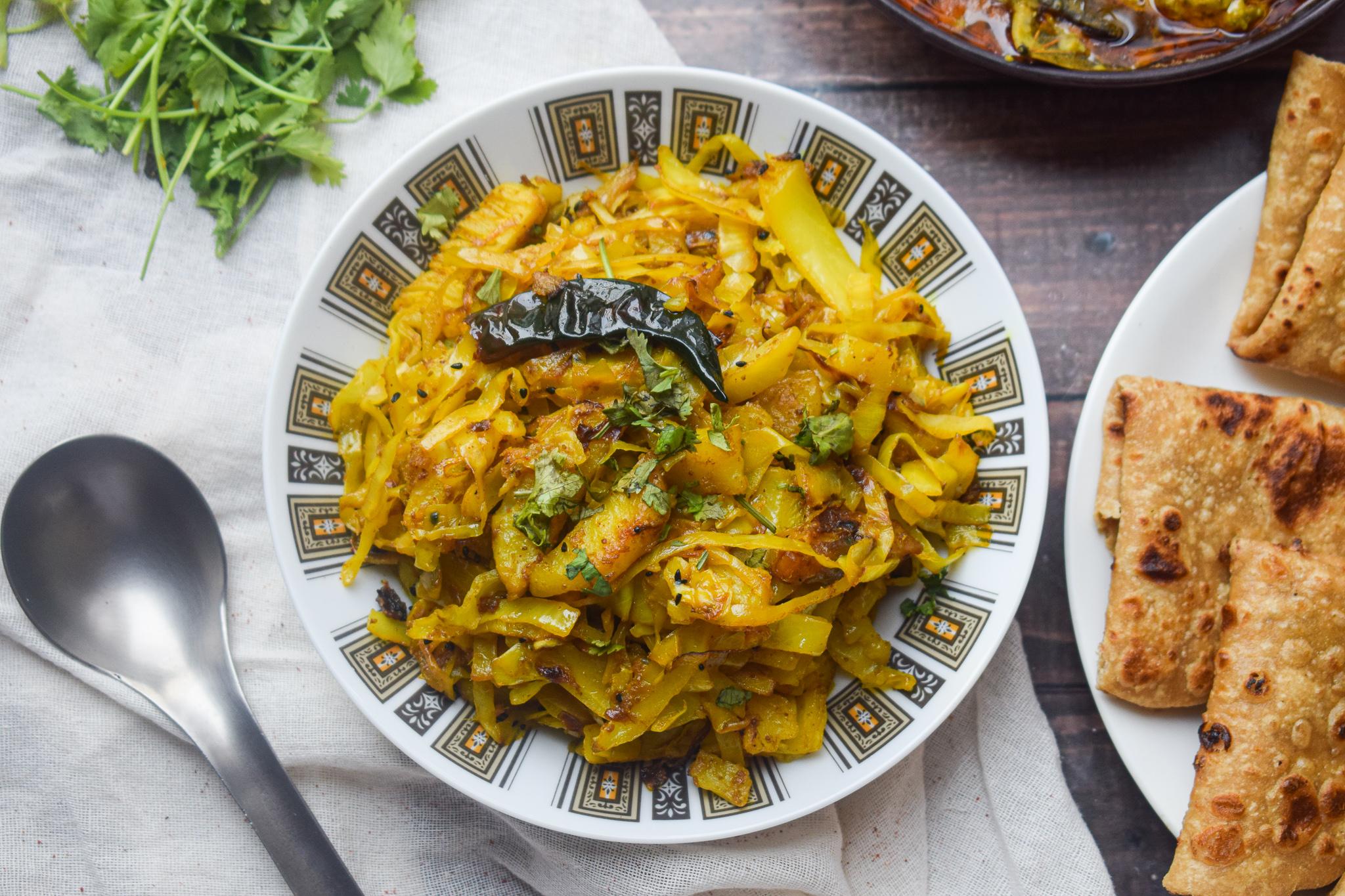 assamese style cabbage potato fry