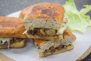 cheesy mushroom onion sandwich